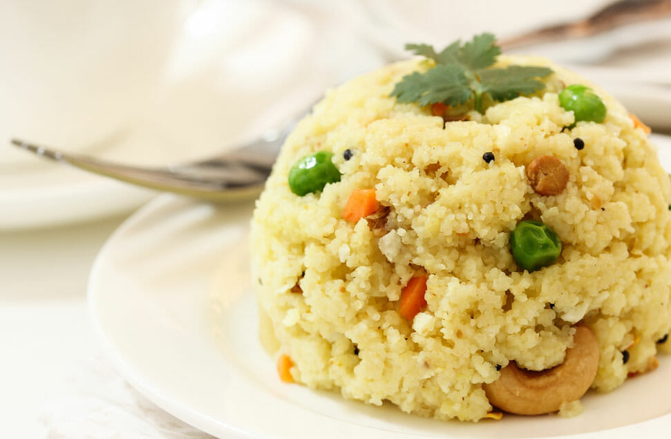 Traditional Rava Upma at South Indian Restaurant, Dakshin